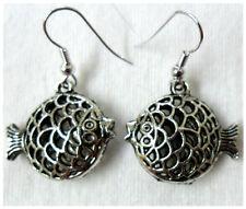 Dangle earrings - Tibetan silver style filigree fish