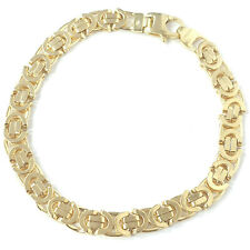9ct Solid Gold Bracelet Byzantine Yellow Fancy Link 6.8mm Wide 8 Inches 19g NEW