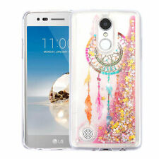 For LG K4/Fortune/K8/Phoenix3 Dreamcatcher/Gold Stars Liquid Glitter Hybrid Case