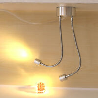 Flexible Pipe 2W/6W LED Wall Sconce Lamp Book Reading Light Switch Plug Cabinet