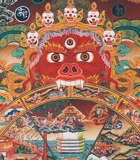 "32"" BROCADE SCROLL TIBET THANGKA PAINTING TAPESTRY : BHAVACHAKRA,WHEEL OF LIFE ="