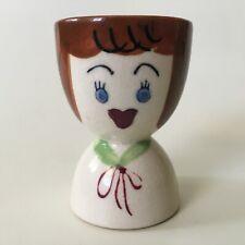 1950's Vintage LADY EGG CUP CERAMIC Eat Michigan Eggs EGG HOLDER Made in JAPAN