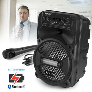 """Small 8"""" Portable PA Speaker System with Bluetooth Streaming and Microphone"""