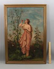 Antique Neoclassic Nude Woman Oil Painting AURORA Sipping Dew Scent of Spring
