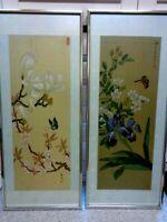 PAIR OF VINTAGE CHINESE SIGNED SILK WATERCOLOUR PAINTINGS. FLOWERS & BUTTERFLIES