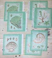 SEA FABRIC SQUARES- Mint Green, Sea Shells, Sea horses, Pastels, Quilting, Beach