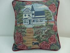 """Cottage House Tapestry Toss Pillow Garden Scene Cat Bird Feeder Roses 12"""" Square"""