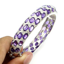 Sterling Silver 925 Genuine Natural Deep Purple Amethyst Bangle  61/2 Inch