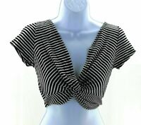 Heart & Hips Crop Top Juniors Black and White Striped Short Sleeve V Neck