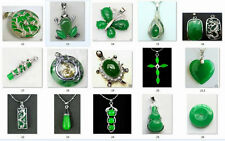 2016 wholesale new 12 Style Green Jade Silver Amulet pendant Necklaces