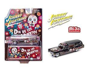 """Johnny Lightning 1:64 1966 Cadillac Hearse 2021"""" Dia De Los Muertos"""" JLCP7373"""