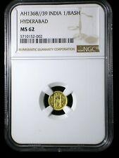 India Hyderabad AH1368//39 1949 Gold 1/8 Ashrafi *NGC MS-62* Only 2 Graded Highr