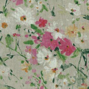 Textiles français WILDFLOWER MEADOW 100% Linen Designer Print fabric (Natural)
