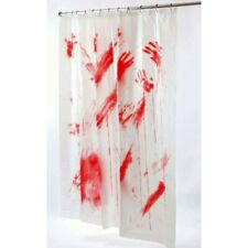 Horror Halloween Bloody Shower Curtain Blood Psycho Bathroom Party Decoration