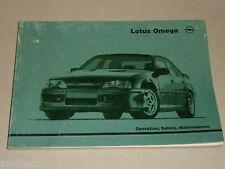 Instrucciones Servicio Manual Owner's Manual Opel Lotus Omega , Stand 06/1990