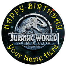 "JURASSIC WORLD FALLEN KINGDOM - 7.5"" PERSONALISED ROUND EDIBLE ICING CAKE TOPPER"