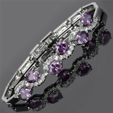 Rhinestone Glass Oval Cut Purple Amethyst Tennis Statement Fashion Bracelet