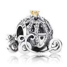 Genuine Pandora Silver 14K Gold Disney Cinderella Pumpkin Coach Charm 791573CZ