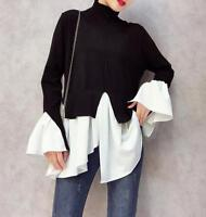 Womens Turtleneck Long Sleeve Loose Knit Shirts Korean Casual Pullover Tops P9