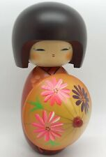 "Japanese 6-1/2"" KOKESHI Doll in Orange Kimono w/ Umbrella; Handcrafted (RF988)"