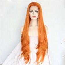 Natural Long Light Orange Copper Straight Fine Lace Front Full Womens Hair Wig