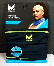 MISSION MULTI-COOL HYDROACTIVE COOLING TOWEL GAITER HEADBAND BLACK/GREEN