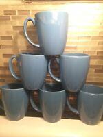 set of 6 Corelle Stoneware Blue Coffee cups Mugs Vintage 12oz