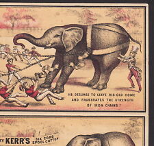PT Barnum 1880's Uncle Sam Circus Jumbo Elephant Kerr Sewing Thread Trade Card