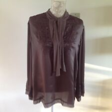 Poetry Brown Silk Blouse - Size 14