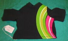 Black Long Sleeve T-Shirt w Green & Pink Stripes for American Girl Doll AGT100