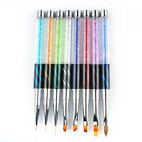 8pc Nail Art Tips UV Gel Crystal Acrylic Paint Draw Pen Polish Brush Tools