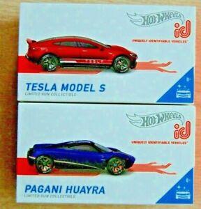 2- 2019 Hot Wheels ID red TESLA MODEL S + blue PAGANI HUAYRA mib Factory Fresh