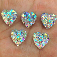 50pcs Crystal AB 12mm Flat Back Heart Resin Rhinestones Button Craft Decor Gems