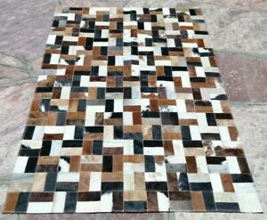 COWHIDE PATCHWORK CARPET AREA RUG LEATHER Cow hide EXCLUSIVE FREE SHIPPING !!
