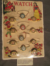 Antique Disney Style Children's Toy Watch Display Card of 12 Toy Watches.