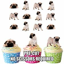 PRECUT Dogs Puppy Pugs 12 Edible Cupcake Toppers Birthday Cake Decorations