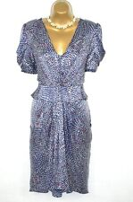 WHISTLES 100% SETA BLU Navy Polkadot ZIP Tea Dress 12
