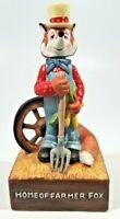 Vintage Porcelain Home of the Farmer Fox Figurine, Wind Up Musical