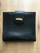 Longchamp Vintage Bamboo Clasp Black Leather Wallet
