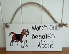 SHABBY CHIC WATCH OUT BEAGLE'S ABOUT DOG LOVERS CHRISTMAS BIRTHDAY FRIEND GIFT
