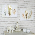Pair of feather watercolour canvas prints pretty wall art paintings home gift