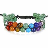 7 Chakra Healing Balance Beaded Bracelet Lava Yoga Reiki Prayer Stones Unisex#Q