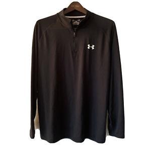 Under Armour Mens Large Pullover 1/4 Zip Long Sleeve Lightweight Heat Gear Black