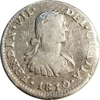 1810 Mexico Silver 1/2 Real, Mo H.J., KM# 73, Ferdinand VII, VF Details