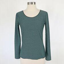 Emporio Armani T-Shirt Top IT40 US2/4 Long Sleeve Turquoise Black Pattern