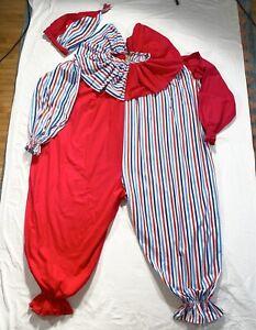 Vintage HALLOWEEN COSTUME Clown Cotton Jumpsuit Antique Metal Zipper 1950s 1960s