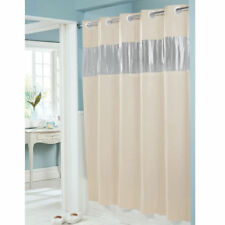 Hookless Shower Curtain, Vinyl, Beige, 71 x 74 Inches, See Thru Window