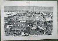 China LARGE Antique Print Shamian Guangzhou Canton Settlement View River 1883