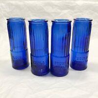 """4 Corralejo Tequila Cobalt Blue Shotgun Shell Shooter Shot Glasses 3 3/4"""" Vtg"""