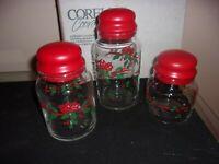 3 Vintage Corning Corelle Winter Holly Christmas Holiday Canister Set NIB